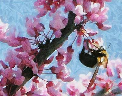 Insect Painting - Bee To The Blossom by Jeff Kolker