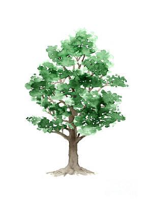 Beech Tree Minimalist Watercolor Painting Print by Joanna Szmerdt