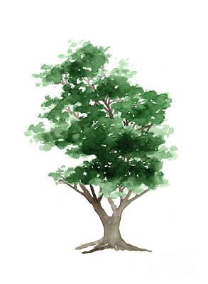 Beech Tree Silhouette Watercolor Art Print Painting Print by Joanna Szmerdt