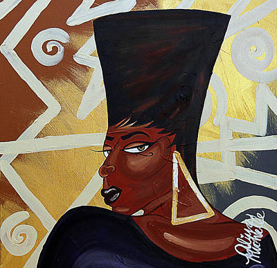 Gold Earrings Painting - Been A Queen by Aliya Michelle