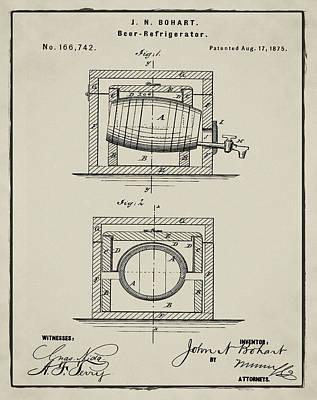 Sepia Chalk Drawing - Beer Keg Refridgerator 1875 In Tan by Bill Cannon
