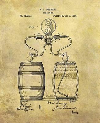 Beer Pump Patent Print by Dan Sproul
