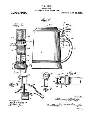 Beer Stein Patent 1914 Print by Digital Reproductions