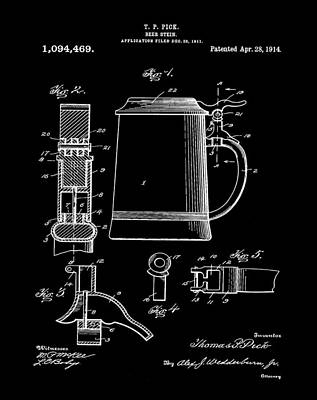 Beer Stein Patent 1914 In Black Print by Bill Cannon