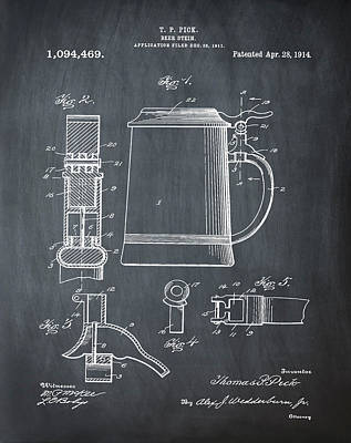 Beer Stein Patent 1914 In Blue Chalk Print by Bill Cannon