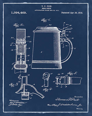 Beer Stein Patent 1914 In Blue Print by Digital Reproductions