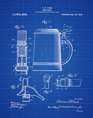 Beer Stein Patent 1914 In Blue Print Print by Bill Cannon