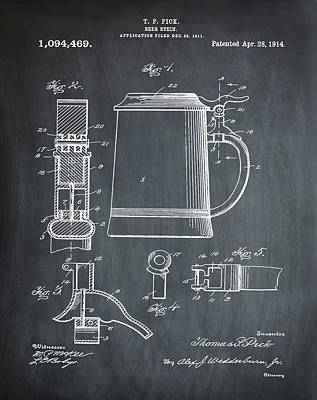 Beer Stein Patent 1914 In Chalk Print by Digital Reproductions