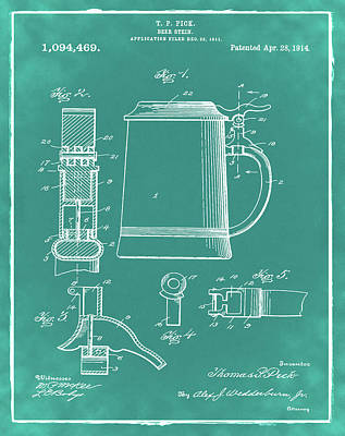 Beer Stein Patent 1914 In Green Print by Digital Reproductions