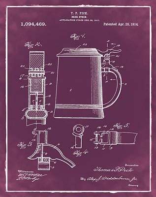 Beer Stein Patent 1914 In Red Print by Bill Cannon