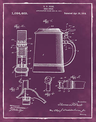 Beer Stein Patent 1914 In Red Print by Digital Reproductions