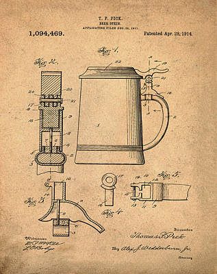 Beer Stein Patent 1914 In Sepia Print by Bill Cannon
