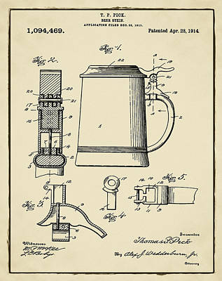 Beer Stein Patent 1914 In Sepia Print by Digital Reproductions