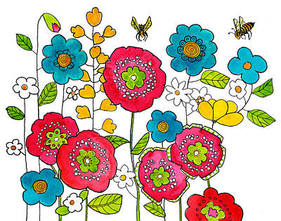 Flower Painting - Bees And Flowers by Blenda Studio