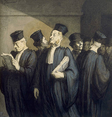 Before The Hearing Print by Honore Daumier