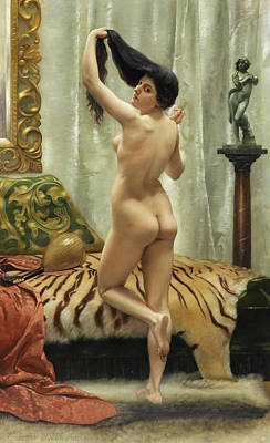 Bed Painting - Before The Mirror by Robert Barrett Browning
