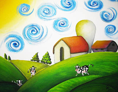 Cows Painting - Before They Bulldoze It by Oiyee At Oystudio