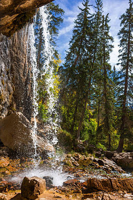 Behind Spouting Rock Waterfall - Hanging Lake - Glenwood Canyon Colorado Print by Brian Harig