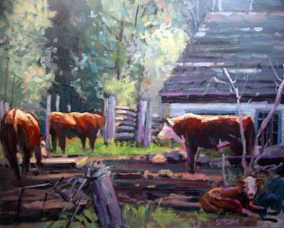 Cattle Painting - Behind The Barn by Brian Simons