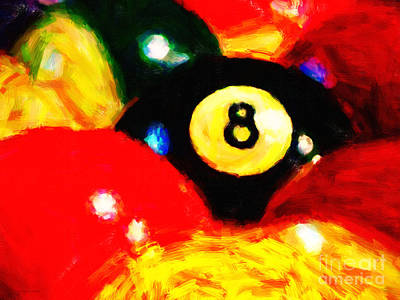 Billiard Sticks Digital Art - Behind The Eight Ball by Wingsdomain Art and Photography
