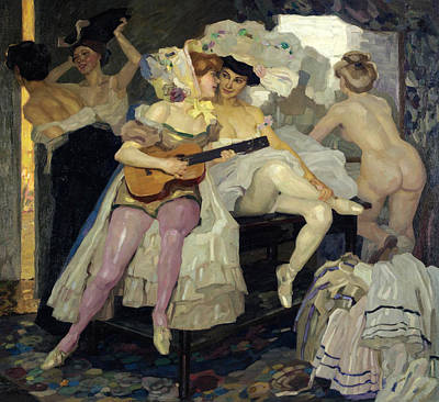 Behind The Scenes Painting - Behind The Scenes by Leo Putz