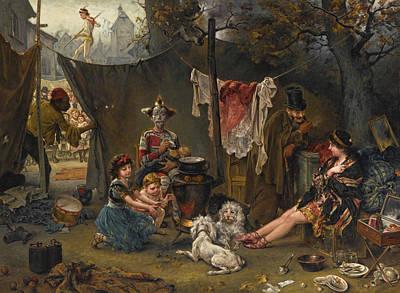 Behind The Scenes Painting - Behind The Scenes by Ludwig Knaus