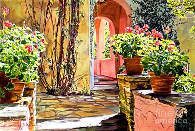 Hotel Painting - Bel-air Geraniums by David Lloyd Glover