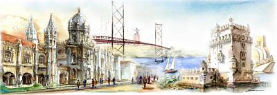 Jer Painting - Belem Monuments Lisbon by Elena Petrova Gancheva
