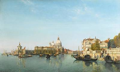 Morning Painting - Belgian The Punta Della Dogana And Grand Canal by Jean Baptiste
