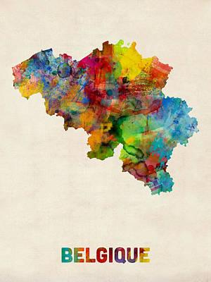 Brussels Digital Art - Belgium Watercolor Map by Michael Tompsett