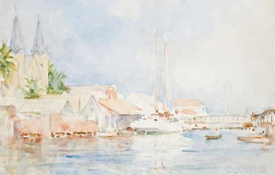 Harbors Drawing - Belize by Henry Scott Tuke