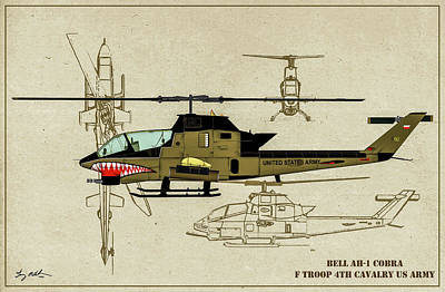 Digital Art - Bell Ah-1g Cobra - Profile Art by Tommy Anderson
