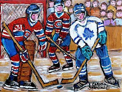 Bell Center Hockey Painting Carey Price Goalie Original 6  Habs Vs Leafs Hockey Art Carole Spandau Original by Carole Spandau