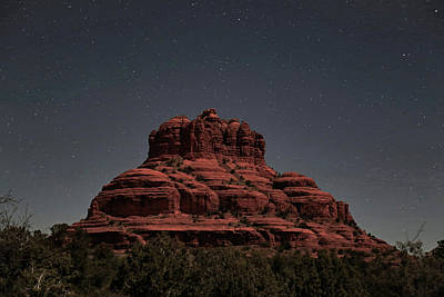 Oak Creek Photograph - Bell Rock With Stars by Donna Kennedy