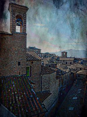 Building Exterior Digital Art - Bell Tower And Rooftops Citta Della Pieve by Dorothy Berry-Lound
