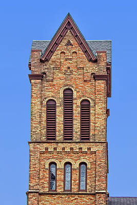 Bell Tower - First Congregational Church - Jackson - Michigan Print by Nikolyn McDonald