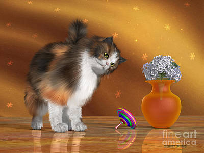 Stray Digital Art - Bella The House Cat by Corey Ford
