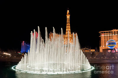 Tower Photograph - Bellagio Fountains Night 2 by Andy Smy