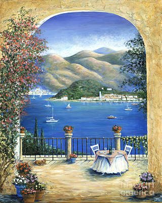 Blue Table Painting - Bellagio Lake Como From The Terrace by Marilyn Dunlap