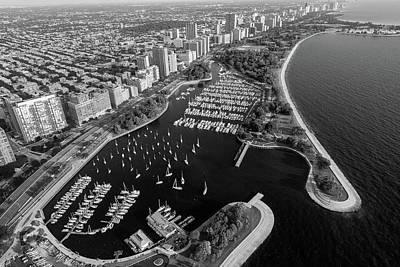 Belmont Photograph - Belmont Harbor Chicago B W by Steve Gadomski