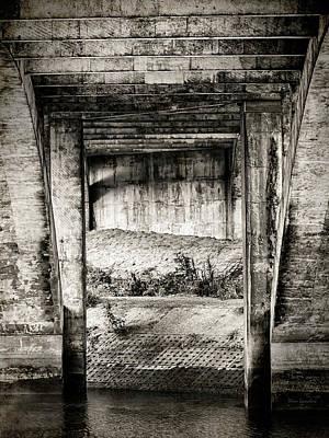 Below The Bridge Monochrome Print by Wim Lanclus