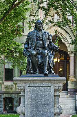 Campus Photograph - Ben Franklin At The University Of Pennsylvania by John Greim