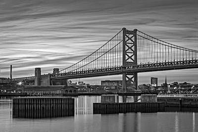 Ben Franklin Bridge Bw Print by Susan Candelario
