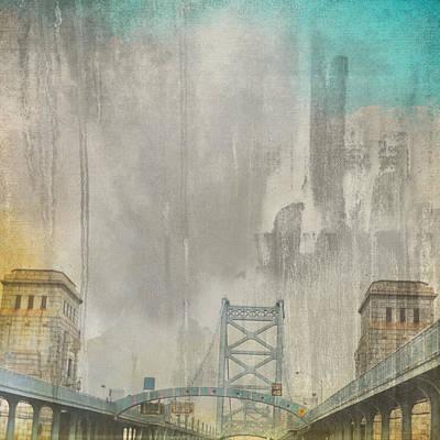 Architecture Mixed Media - Ben Franklin Bridge Philadelphia Pa by Brandi Fitzgerald