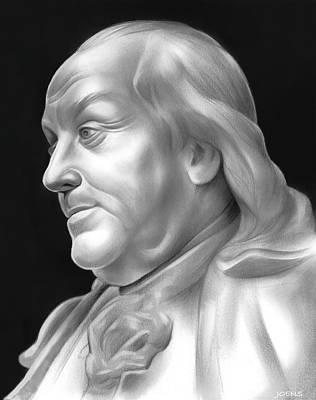 Statesmen Drawing - Ben Franklin by Greg Joens