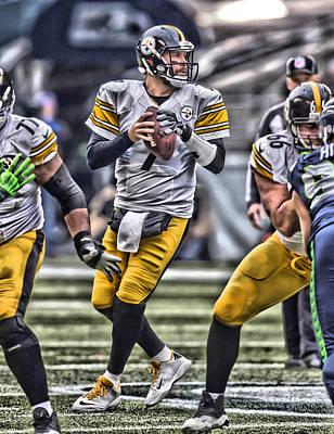 Nfl Sports Painting - Ben Roethlisberger Pittsburgh Steelers Art by Joe Hamilton