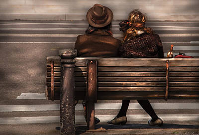Bench - A Couple Out Of Time Print by Mike Savad