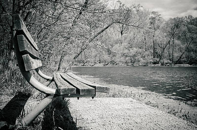 Bench By The Water Print by Amy Turner