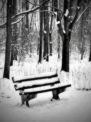 Greyscale Photograph - Bench In Snow by Wim Lanclus