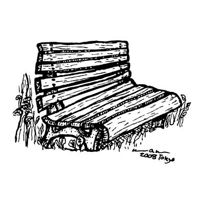 Tokyo Drawing - Bench by Karl Addison